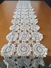 Vintage Hand Crocheted Table Runner 81'x11' Ivory, Stain Free
