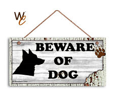 Beware of Dog Sign, Dog Bite Sign, White Distressed 5x10 Rustic Wood Dog Sign