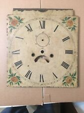 Antique Hand Painted Flower Decorated Iron Grandfather Clock Dial C. 1800's