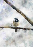 Blue tit watercolour, bird painting unique artwork gift (print)