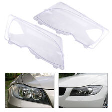 Left+Right Headlight Lens Plastic Cover Set 63126924045 63126924046 Fit BMW E46