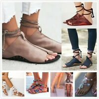 Women Gladiator Open Toe  Lace Up Roman Sandals Casual Pumps Summer Shoes Flat