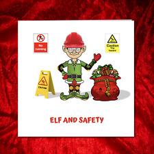 Funny Christmas Card - Elf and Safety - Amusing Humorous Humour Santa Claus Pun