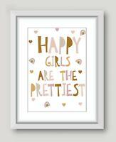 Kids Children's Girls Bedroom Prints Wall Art Quotes Decor Scandi Happy Girl  A4