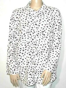 Denim & Co. Stretch Crepe Printed Dot Point Collar Shirt  3X