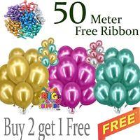 "12"" X  20 CHROME BALLOONS METALLIC LATEX PEARL Helium Baloon Birthday Party uk"