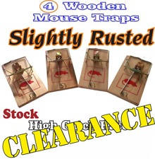 SLIGHTLY RUSTED PACK OF 4 WOODEN MOUSE TRAPS TRADITIONAL CLASSIC