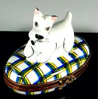 LIMOGES FRANCE SCOTTIE DOG WESTIE FIGURAL PORCELAIN KEEPSAKE TRINKET BOX