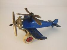 Vintage Antique Hubley Giro Toy Plane Blue Cast Iron Gyrocopter 1930's Airplane