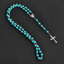 Vintage Women Men Catholic Rosary Cross Pendant Beads Long Chain Prayed Necklace