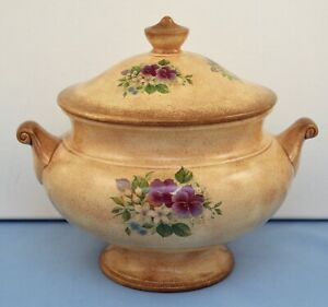 VINTAGE CERAMIC COVERED POT SOUP TUREEN W/ PANSY FLOWERS
