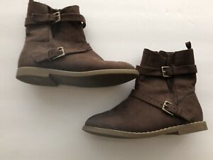Girls BOOTS 10 Toddler BROWN Suede BUCKLE OLD NAVY Winter Shoes