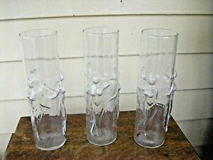 Set of 3 Raised Naked Girl Bar Glasses