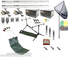 Full Carp Fishing Rods Reels Tackle Set Up Kit  Alarms Bait Tools Mat PC25  More