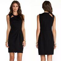 Nanette Lepore Asteroid Dress Womens 12 Black Sleeveless Leather Trim Ponte Knit