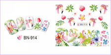 Nail Art Water Decals Transfers Stickers Summer Flamingo Palm Trees Floral BN914