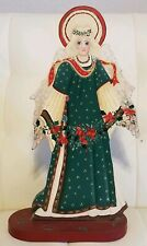 Hand Painted Wooden Christmas Angel Decor Poinsettias