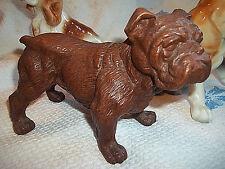 Vintage 'Carved Faux Wood Look' Bulldog Figurine