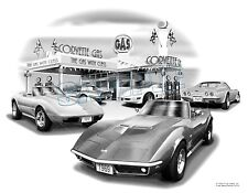 "CORVETTE 1969 C3 LTI Auto Art Car Print #1012 ""FREE USA SHIPPING"""