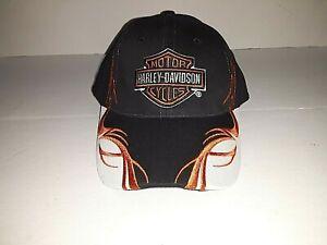 Harley-Davidson Motor Cycles  Black White and Orange Adjustable Hat