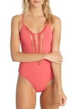 NEW Billabong 'Hippie Hooray' Crochet One Piece Swimsuit size M Medium Coral