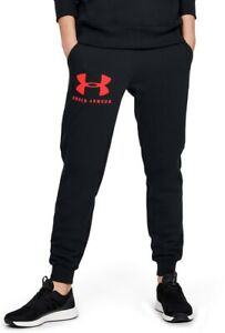Under Armour Rival Fleece Womens Joggers Black Loose Fit Soft Gym Training Pants