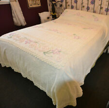 Beautiful Large Vintage Cream Double/ King Candlewick Chenille Bedspread 60s 70s