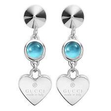 Gucci Sterling Silver Earrings heart YBD325837001 ORECCHINI ARGENTO topazio new