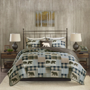NEW! ~ COZY LODGE BLUE GREEN TAUPE TAN PATCHWORK LOG CABIN BEAR PLAID QUILT SET