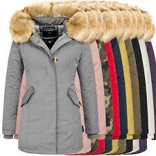 Marikoo Jacke Damen Winter Parka Mantel Winterjacke warm Luxus Kunstpelz OMKarm