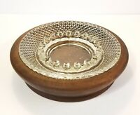 "Vintage 60's Clear Hobnail Bubble Depression Glass Ashtray 6.25"" w/Wooden Base"