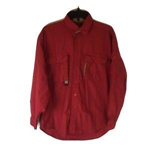 Orvis Fishing Outdoors Shirt Men Medium Long Sleeve Button Front 100% Nylon Red