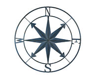 Blue Distressed Metal Indoor Outdoor Compass Large Wall Hanging Mounted 28 Inch