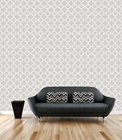 Brewster Symetrie A Street Modern Contemporary Grey Quatrefoil Wallpaper DIY