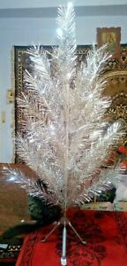 Vintage USSR artificial christmas tree. aluminum color. 47in. very rare.