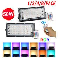 1/2/4/8X 50W RGB LED Floodlight Colour Change Flood Light Outdoor Lamp w/ Remote
