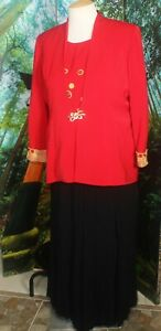 BEADED COCKTAIL  PANTS or SKIRT SUIT  SEPARATE PLUS RED/GOLD/BLACK  22