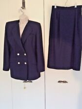 Vintage Oleg Cassini Navy Blue Suit Skirt & Blazer Jacket Size 8 Light weight