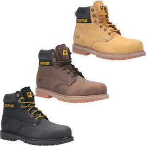 CAT Caterpillar Powerplant Safety Boots SB Industrial Steel Toe Mens Work Shoes