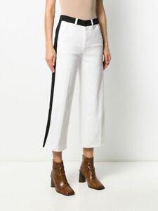 FRAME DENIM Ali High Rise Wide Leg Crop Jeans Denim Off White Multi $235 A136