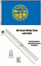 3x5 State of Nebraska Flag White Pole Kit Gold Ball Top 3'x5'