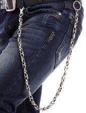 Silver Black Metal Long Wallet Chains KeyChain Strong Skull Skeleton Biker Jeans