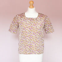 Vintage paisley floral print short sleeve silky feel top small UK 8
