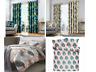 Modern Fusion Tropical Leaf Botanical Readymade Lined Eyelet Curtains/Duvet Sets