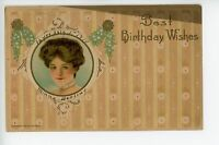 Beautiful Woman Birthday Greeting PC Wessler Antique ca. 1910