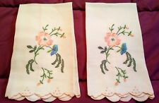 """2 Exquisite White Linen Madeira Embroidered Hand Towels 21"""" by 12 1/2"""""""