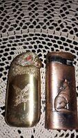LOT OF 2 VINTAGE BUTANE LIGHTERS, EAGLE & WOLF MOTIF, COPPER FINISH & GOLD TONE