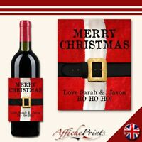 L88 Personalised Merry Christmas Santa Wine Brut Bottle Label - Perfect Gift!