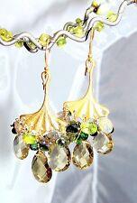 Vermeil SS  Ginko  Peridot Champagne Quartz Green Tourmaline Chandelier Earrings