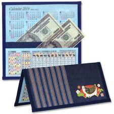 Japanese Blue Rice Paper Wallet Calendar 2019 Year of Boar Zodiac Made in Japan